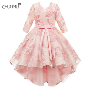 Baby Lace Tutu Princess Dress For Girl Elegant Embroidery Flower Birthday Party Girl Dress Baby Girls Clothes 2-10 Years Y1130