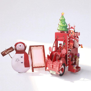 3D Handmade Cards Snowman Santa Claus Christmas Flower Car Paper Invitation Greeting Cards PostCard New Year Party Creative Gift