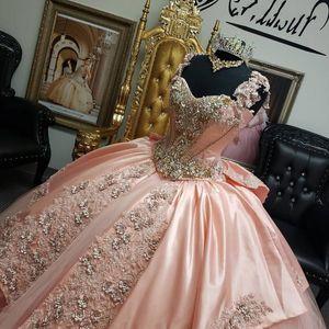 Fora do ombro-de-rosa Vestidos Quinceanera Appliqued frisada Bola Prom Vestidos Doce 16 vestidos Vestidos de 15 anos