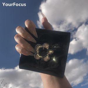 Kawaii Nette Metall Blume Snap PU Helle Leder Brieftasche Süße Mini Geldbeutel C1115