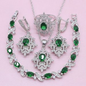 New Arrivals Green Zircon Silver Color Jewelry Sets For Women Exquisite Bracelet Earrings Necklace Pendant Ring Wedding Jewelry Q1123