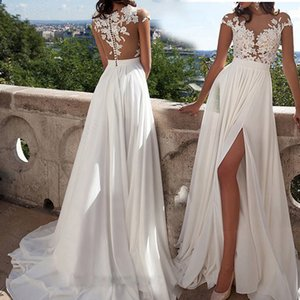 Simple Elegant Chiffon Bohemian Wedding Dresses 2019 Sheer Neck Lace Appliques Cap Sleeves Thigh-High Slits Beach Bridal Gowns