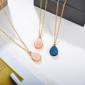New Fashion Gold Teardrop Resin Druzy Necklace For Women Fashion Statement Stone Choker Necklace Pendant Jewelry Wholesale