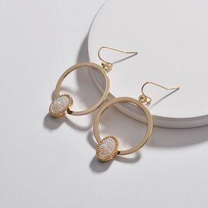 Серьги Gone Collselier 6 цветов Геометрический круг Овальные дружеские серьги для женщин Золотой цвет дизайнерские украшения