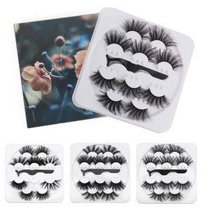 5Pairs 25mm Long Dramatic False Eyelashes with Tweezer 3D Thick Faux Mink Lashes Extension Wispy Fluffy Eyelash Make Up Tools
