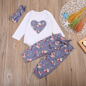 3pcs Set Baby Girl Clothing Love Heart Floral Long Sleeve Pant Headband Spring Autumn Cloth Kid Infant Clothes Fashion Retro 19ym G2