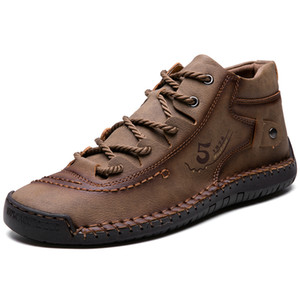 Men Winter Boots Warm Leather Casual shoes Soft sole Comfortable Man Flat Boots for outdoor driving Big Size 38-48 201125