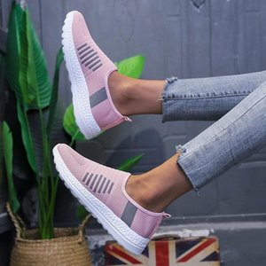 Women Sneakers Breathable Comfort Vulcanized shoes Autumn Dropshipping Slip on Ladies Flat Knitted Casual Woman Shoes