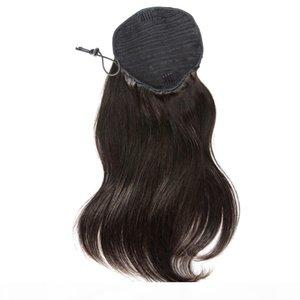 Wraps Natural Hands Human Human Cabelo Cabelo De Cabelo 140g Clipe Em Longo Drawstring Ponytail Hair Extension Brazilian Hair Bonytail
