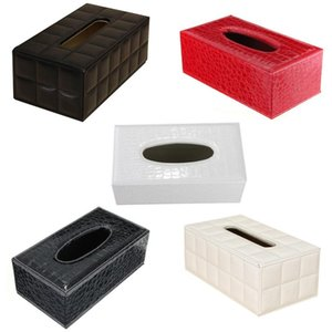 Durable Home Car Rectangle PU Leather Tissue Box Paper Holder Case Cover Napkin