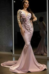 Mermaid Sexy Prom Dresses Arabic Aso Ebi Formal Evening Wear Long Sleeves Sheer Neck Informal Second Reception Gowns