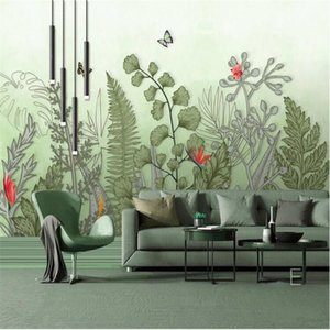 Medieval Hand Painted Tropical Rain Forest Plants 3D Wall Papers Home Decor Living Room Bedroom Background Decor Mural Wallpaper