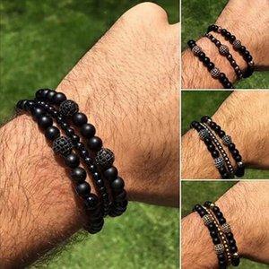 Beichong Fashion Black CZ Ball Men Bracelet Natural Stone Matte Beads Charm Bracelets Women Men Jewelry Party Gift