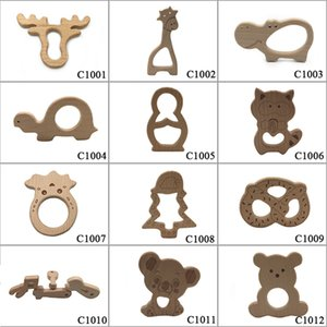 10pcs Safe Kara Teething Baby Teether Cute antlers Design Wooden Ring Animal Shape Toy handmade wooden teether-giraffe teether B1203