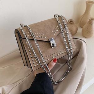 Scrub Leather Small Shoulder Messenger Bags For Women Chain Rivet Lock Crossbody Bag Female Travel Mini