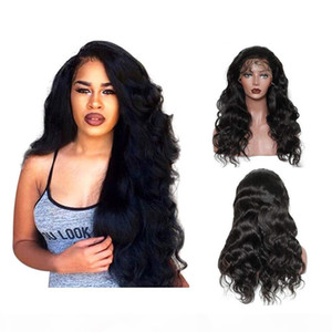 Natural Black Long Body Wave Lace Front Wigs with Baby Hair Glueless Full Density Wigs for Women Heat Resistant Fiber Hair
