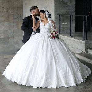 Vintage Satin Wedding Dresses 2021 Luxury Spaghetti Straps Dubai Lace Bridal Gowns Corset Back Plus Size Marriage Dress vestido de noiva