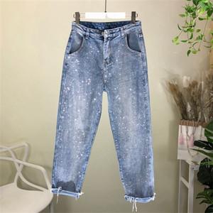 Nancylim solta jeans mulher primavera outono nova moda strass denim calças femme 201106