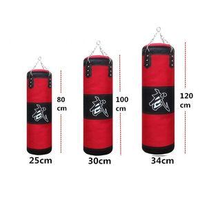 80cm 100cm 120cm Empty Boxing Sand Bag Hanging Kick Sandbag Boxing Training Fight Karate Sandbag Setwith Gloves Wrist Guard