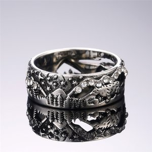 New Vintage Hollowed-out Design Women Finger Rings Cute Animal Star Pattern Antique Color For Party Accessories Jewelry