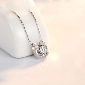 10 New 3D Simple Small Inlay Zircon geometric pendant Necklace Mini Fashion Crystal Angel Eye love Necklace Lucky Ladies Jewelry