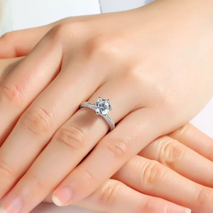 Original Boutique High Quality Brand Classic 925S Sterling Silver New Simple Exquisite Gift Ring Six Prong Ring Wedding ring
