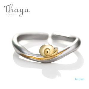 luxury- Gold Snails S925 Silver Finger Ring Journey Design Handmade Elegant Wave Ring For Women Gift Female Natural Fine Jewelry Y1905160