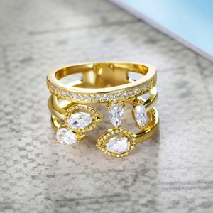 Ring female hollow flower zircon ring micro-inlaid gold-plated jewelry ring jewelry