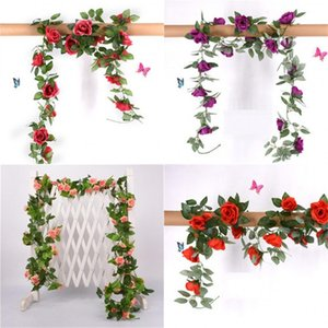 2.2M Artificial Flower Vine Plastic Rose Leaf Wedding Decor Real Touch Flowers Hanging Garland Home Furnishing Flower Rattan New 6 5sw G2