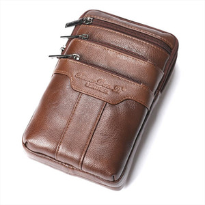 GOLD Genuine Leather Belt Waist Bags Men Messenger Shoulder Bags Male Travel Fanny Pack Phone Bag Fashion Waist Packs 2018
