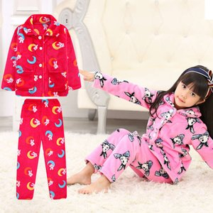 Juego de pijamas de franela infantil de tela para chicas