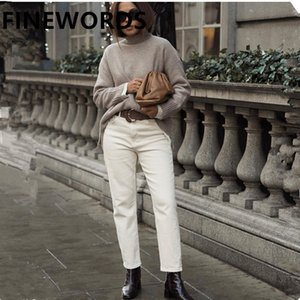 Finewords Autumn coreano Apricot Harem Namorado Mulheres Plus Size Beige Jeans Vintage Calça Casual perna larga do Boot Cut Jeans