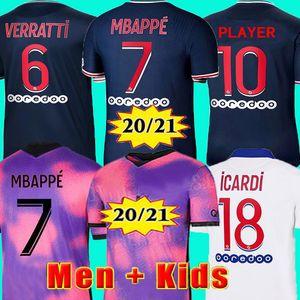 20 21 camiseta de fútbol MBAPPE NEYMAR JR VERRATTI 2020 2021 MARQUINHOS KIMPEMBE PSG camisetas de fútbol de fútbol kit para niños