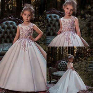 New Crystal Design High Low 2017 A line Flower Girl Dresses Square Neck sleeveless Zipper Empire Satin Floor-length Birthday Communion Gowns