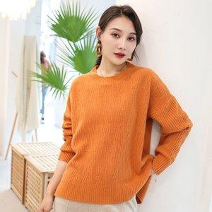 Round neck women's sweater 2020 autumn winterLady's undershirt fashion overwear pile neck thickening madam woolen sweater 8MOI