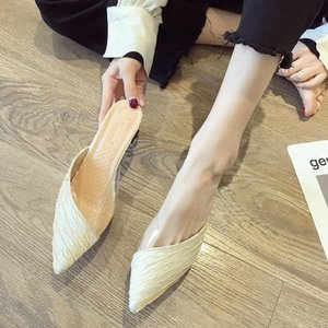 2021Woman Elegant Mules Female Transparent Slides Women Pointed Toe Slippers Ladies Thick Heels Shoes Summer Women's Footwear #Yg8A