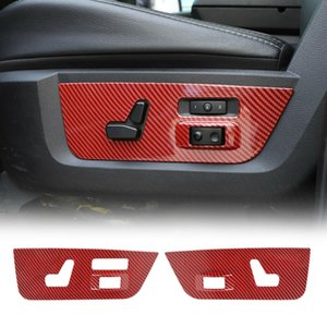 ABS Car Electric Seat Adjustment Panel Decor Cover for Dodge RAM 1500 10-17 Interior Accessories Red Carbon Fiber
