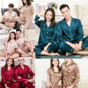 Acfx man Silk Satin Couples Pajamas Set Clothing Women Men Long Sleeve Sleepwear Pyjamas cow print pajamas BZEL Suit Home For His-and-hers
