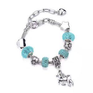Best selling rainbow colorful crystal unicorn bracelet in Europe and America diy handmade jewelry snake bone bracelet for men and women