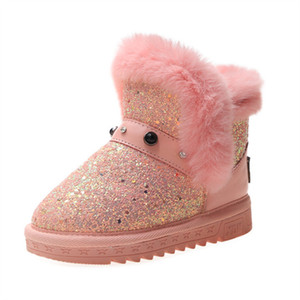 ULKNN Winter Girls Boots Children Shoes For Girls Boots Kids Shoes Plush Warm Outdoor Fashion Anti-slippery Bota Infantil Y1125
