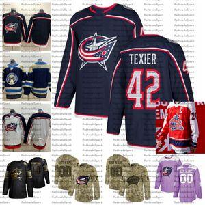 2021 Reverse Retro Anpassen # 42 Alexandre Texier Columbus Blue Jacken Jerseys Golden Edition Camo Veterans Tag Kämpfe Krebs Hockey Jersey