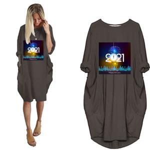 Frauen 2021 Neue Stil Kleid Lose Langarm Tasche Tshirt Kleider Damen Frühling Herbst Kleidung