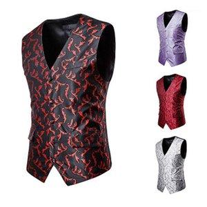 Мужские жилеты плюс размер мужчин повседневный костюм жилет шелк листья шаблон вышитый умный однобортный дизайн тонкий подходит для Mens1