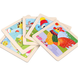 Wooden Puzzles Toys 9PCS Cartoon DIY Buliding Animals Thickened Puzzles Wooden Toy for Children Cognition Puzzle Birthday Gifts for Kids 33