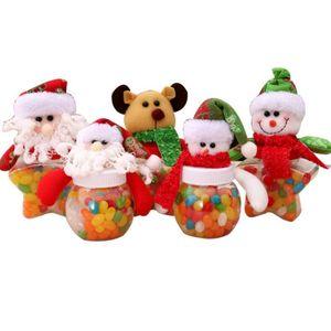 1 Adet Yeni Noel Dekorasyon Santa Kardan Adam Şeker Kavanoz Küçük Yuvarlak Yıldız Kumaş Doll Şeker Kutusu Çocuk Hediyeler Odası dekorasyon OWD2988