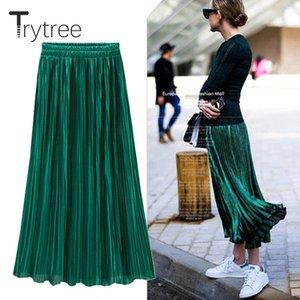 Trytree Spring Summer Pleated Skirt Womens Vintage High Waist Skirt Solid Long Skirts New Fashion Casual Metallic Skirt Female Q1117