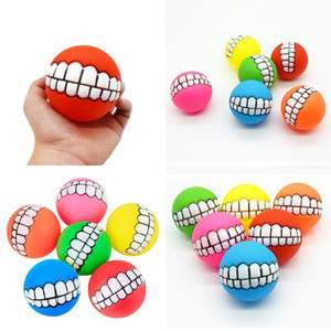 Funny Pets Dog Puppy Cat Ball Teeth Toy PVC Chew Sound Dogs Play Fetching Squeak Toys Pet Supplies Puppy Ball Teeth Silicon Toy 187 K2