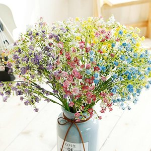 Artificial Flowers Colorful Long Stem Fake Flowers Bouquet Breath Silk Flower Wedding Decorative flower Faux Floral T2I5333