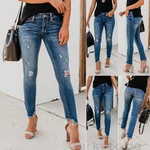 Jeans femeninos 2021 Últimos VIEJOS ELÁSTICOS DEL VIEJO DEL VIEJO PLAYO DE LA CINCINA ALTA ROTA DE LA MODA CASUAL PLUS TAMAÑO1