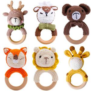 4 pc bebê brinquedos Teether de madeira crochet animais chocalho BPA grátis chocalho brinquedo recém-nascido amigurumi teether baby chocatles presentes para recém-nascido q1214